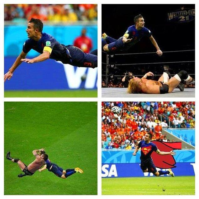 1. Uçan Hollandalı Van Persie'nin İspanya'ya attığı harika gol çok ses getirdi.