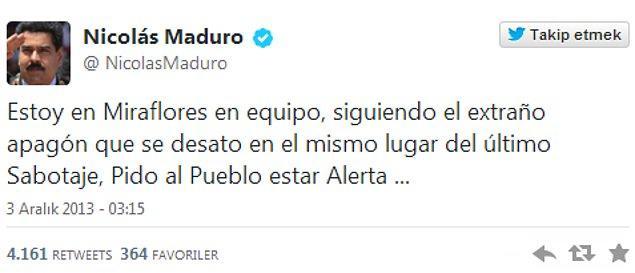 3. En aktif hesap: Venezüella cumhurbaşkanı Nicolás Maduro