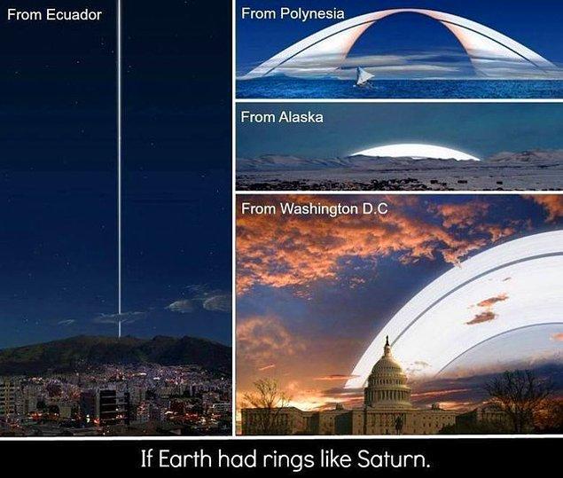 7. Burada Dünya'nın da Satürn gibi bir halkası olsa nasıl görüneceğini görüyoruz.