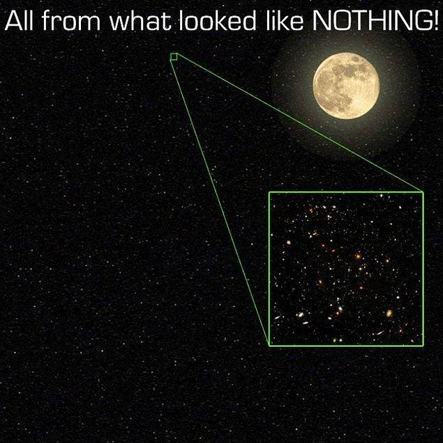 25. Bu da aklınızda olsun- bu fotoğraftaki  evrenin çok ama çok küçük bir parçası. Gece gökyüzünde bulunan minicik bir parça.