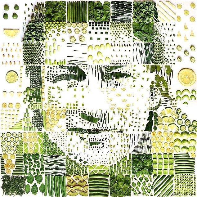 7. Çeşitli sebze ve meyvelerden oluşturulmuş portre.