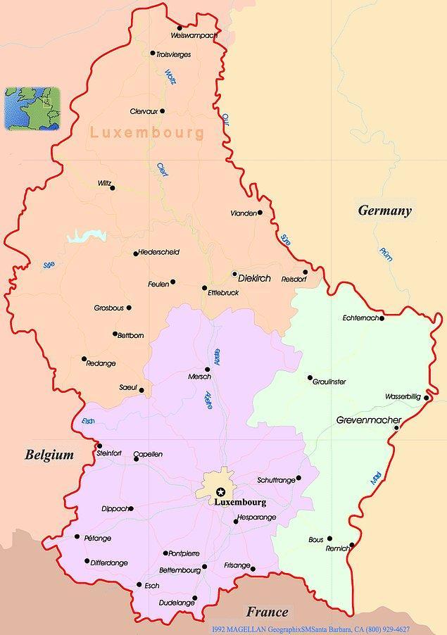 11. Ülkemizdeki iller; Diekirch, Grevenmacher, Lüksemburg