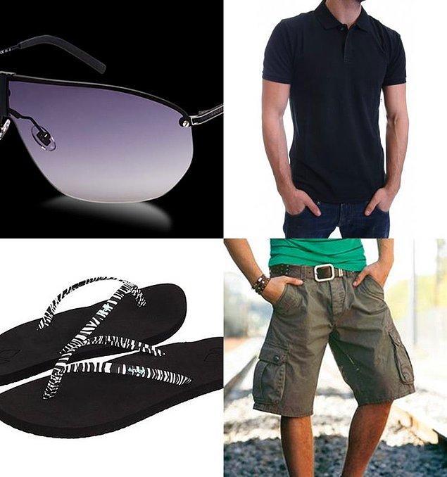 16. Kapri, parmak arası terlik, polo yaka t-shirt ve gözlük kombinli gencin kampüste görülmesi