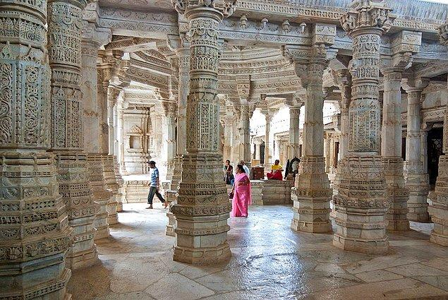 The Marble Jain temple of Ranakpur, India is one of the best examples of its style. All the 1,440 marble pillars are designed in an unique style.