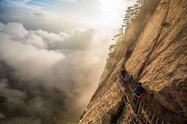 Mount Huashan, considered one of the most dangerous trails in the world is in Shaanxi, China. The view after climb is rewarding.
