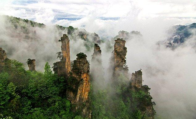 """Tianzi Mountain Nature Reserve in Wulingyuan is one of the China's most scenic spots. Stone towers reminds the movie """"Avatar""""."""