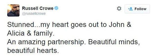 Russell Crowe Üzüntüsünü Twitter'dan Paylaştı