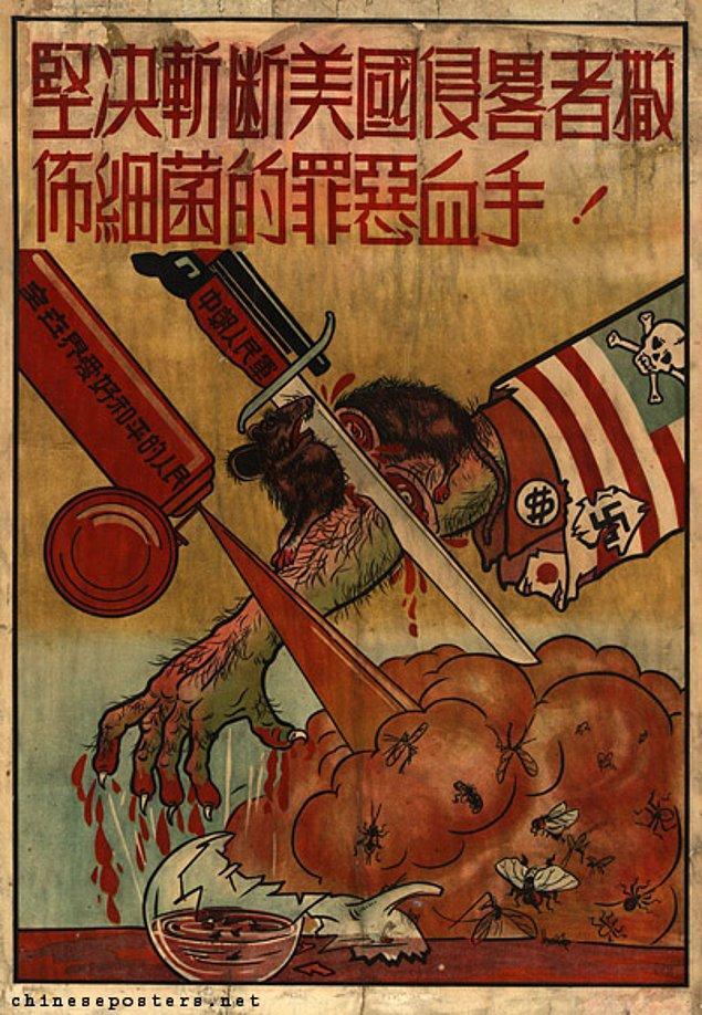 14. Geriye doğayı kendine düşman gören Mao'nun hazırlattığı bu propaganda afişi kaldı.