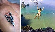Экстремал, который прыгнул с обрыва с парашютом, прикрепленным в своей коже