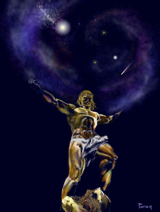 """7. Atlas'a reva görülen """"Gök kubbeyi sırtında taşıma"""" cezasının sembolik anlamı, gök-yer (Uranos-Gaia) buluşmasının ilelebet önüne geçilerek bu buluşmanın meyvesi olan Titanların sonsuza dek tarihe gömülmesidir."""