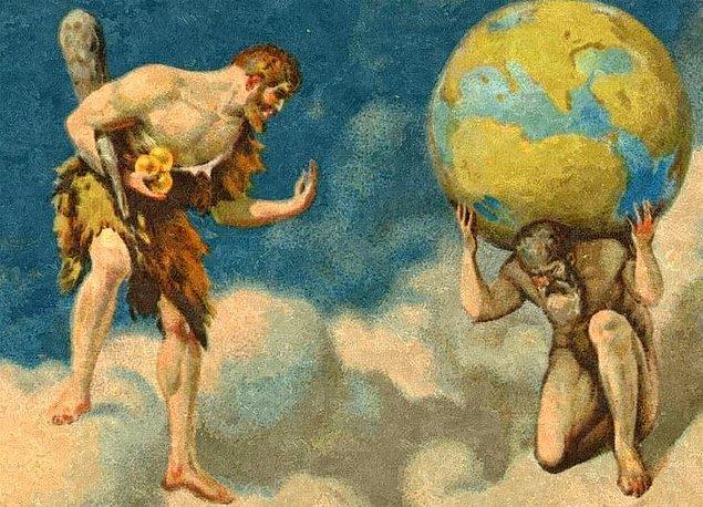 9. Atlas göğü yerden ayıran sütunları taşımaktadır ve Herakles altın elmaları sorduğunda Herakles'in bir süre sütunları tutmasını, o arada kendisinin de altın elmaları alıp ona teslim edeceğini söyler.