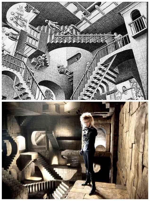 1. Jim Henson'ın Labirent filmi ve Escher'in Relativity adlı eserinden