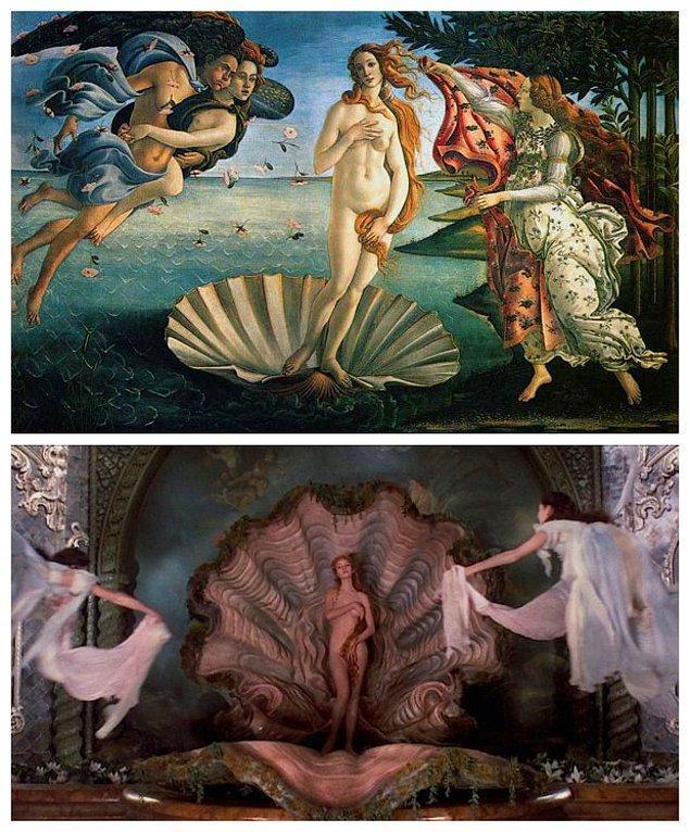 8. Terry Gilliam'ın Baron Munchausen'in Maceraları ve Boticelli'nin The Birth of Venus ( Venüs'ün Doğuşu) adlı tablosundan