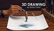 3D рисование: рыбка, выпрыгивающая из воды