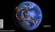 Видео о том, где за последние 15 лет на Земле возникали землетрясения