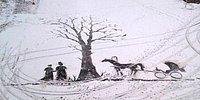 Дворник по профессии художник в душе: рисунки на снегу на радость школьникам