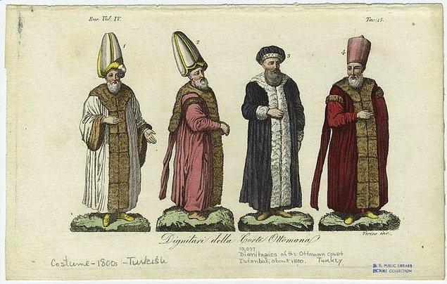 4. Osmanlı Mahkemesi'ndeki devlet adamlarının kıyafetleri, 1800'ler.