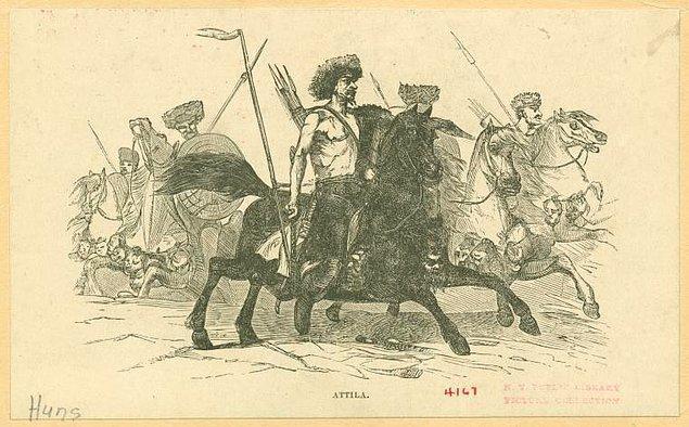 10. Avrupa Hun İmparatorluğu hükümdarı Attila'yı resmeden bir çizim.
