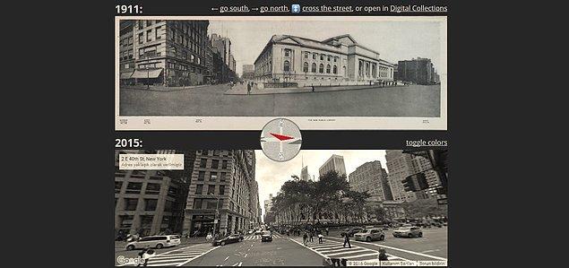 Diğer uygulamada ise New York sokaklarının önceki ve şimdiki hallerini karşılaştırabiliyorsunuz.