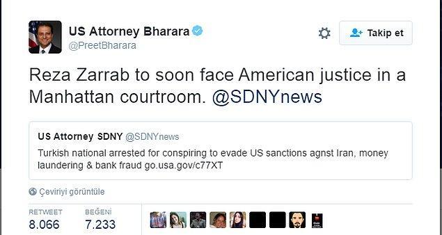Savcı, Rıza Sarraf için adaletle yüzleşeceğine dair tweeti attıktan sonra sosyal medya coştu. 😃