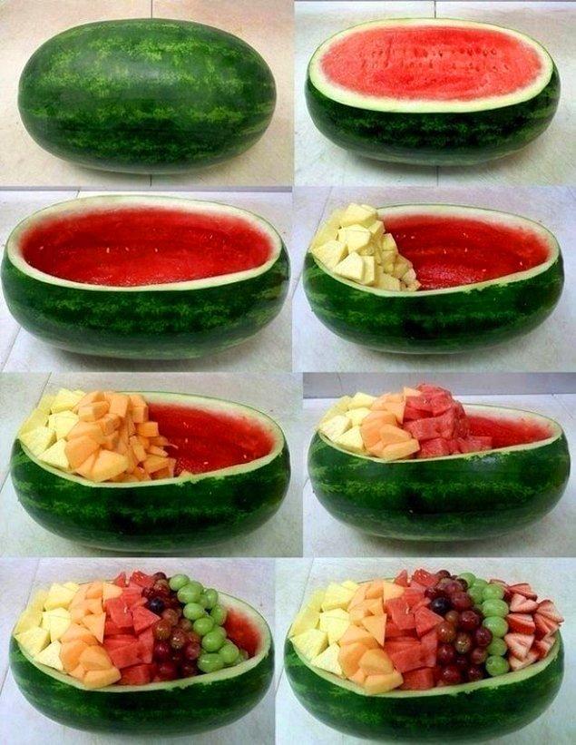 4. Karpuzdan bu kadar kolay meyve tabağı yapabilirsiniz