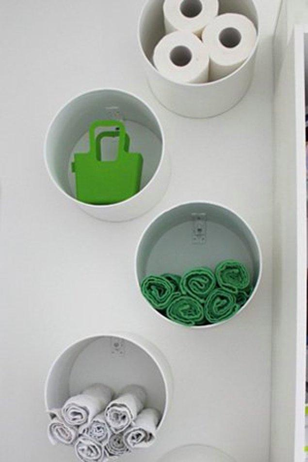 27. Banyolarınızda tuvalet kağıdı, havlu gibi küçük parçaları saklamak için hem dekoratif hem de kullanışlı bir çözüm önerisi.