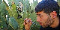 Житель Палестины рисует повседневную жизнь на кактусах