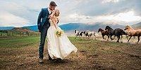 Идея для свадебной фотосессии: снимки с лошадьми
