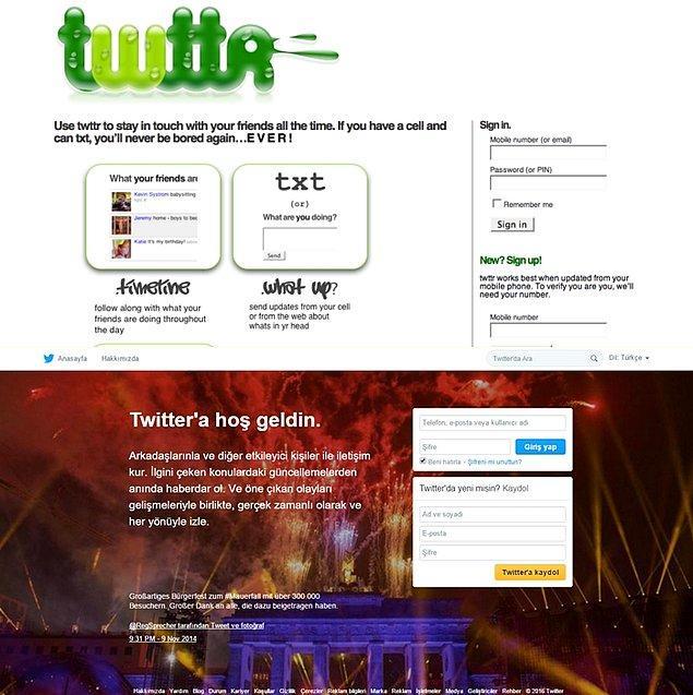 9. Twitter 2006'da kurulmuştu. İlk tasarımı şimdikinden çok çok alakasız. 10 yılın ardından 320 milyon aktif kullanıcı sayısına ulaştı.