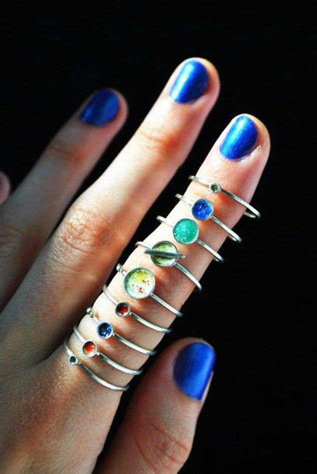 5. Gezegenleri parmaklarınızda sıralayabilirsiniz.