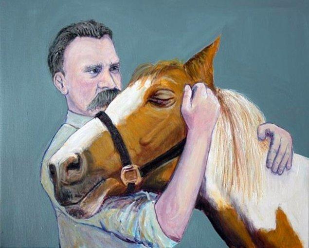 12. Friedrich Nietzsche sahibi tarafından kırbaçlanan bir ata sarıldıktan sonra zihinsel olarak tamamen çöktü.