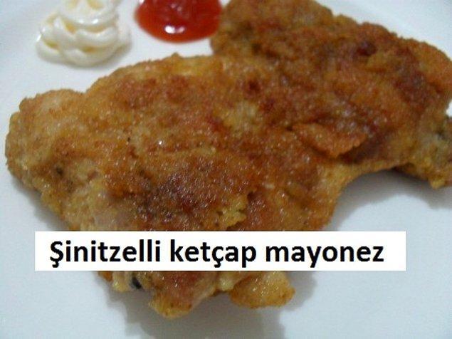 5. Fazla yağda pişmiş şinitzelli ketçap ve mayonez tarifi yine göz doldurdu.