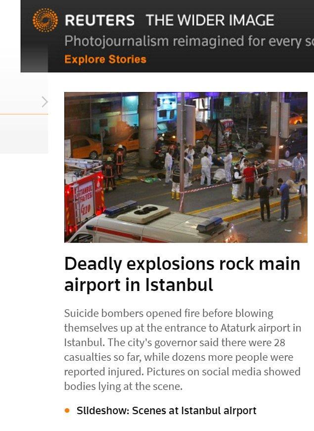 Reuters da saldırıyı son dakika gelişmesi olarak verdi.