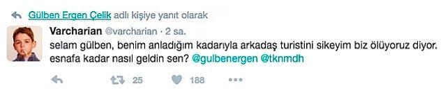 Bir başka Twitter kullanıcısı ise, durumun vehametini anlamadığını düşündüğü Ergen'e, olayı çok daha açık bir şekilde dile getirdi.