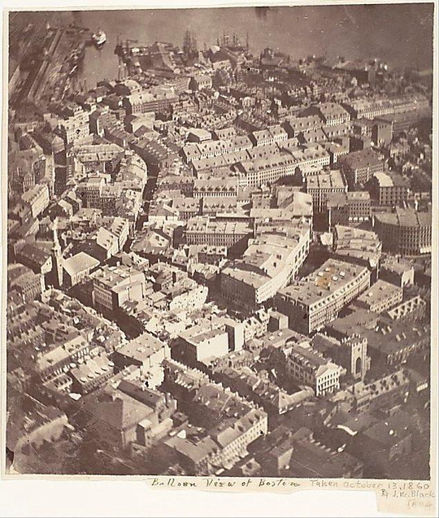 8. Şimdiye kadar çekilmiş en eski hava fotoğrafı, Boston, 13 Ekim 1860.