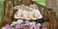 Фотосессия чрезвычайно редкой четверни девочек-близняшек