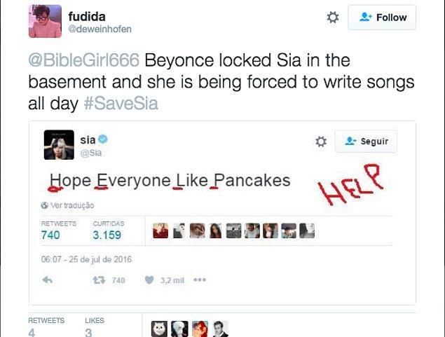 """Sia'nın attığı her tweet farklı bir yere çekilmeye devam ediyor, """"#SaveSia"""" yani """"Sia'yı Kurtar"""" hashtagi Brezilya'da hızla yayılıyordu."""
