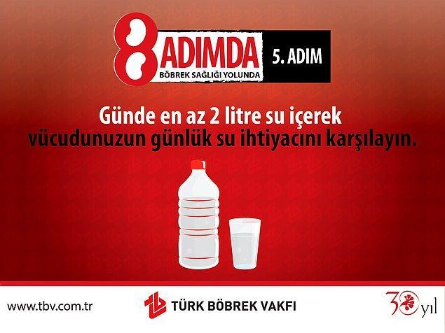 5. Su İçmek, Sağlıklı Böbrekler İçin Atılabilecek En Büyük Adımdır.