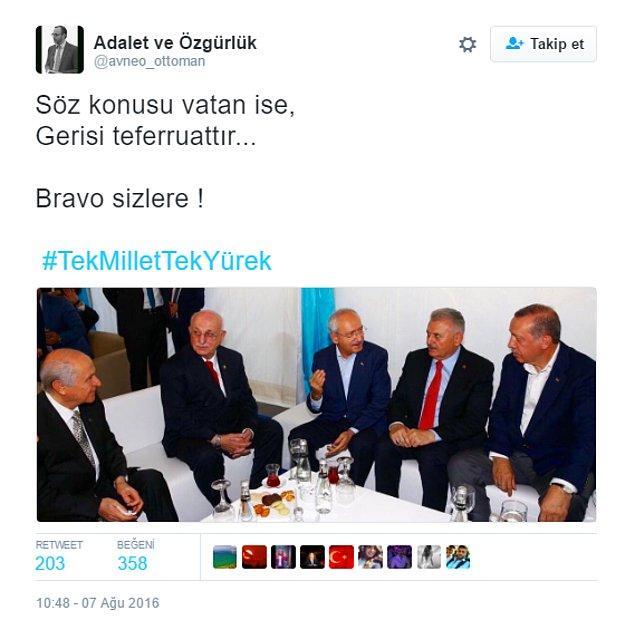 Darbe girişimi sonrasında AKP, MHP ve CHP liderleri işte bu şekilde toplanmışlardı. Birleşmeye yönelik ilk sinyal bu oldu.