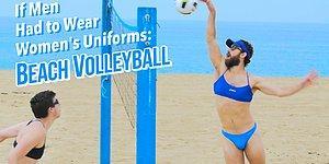 Мужчины играют в волейбол в женской одежде