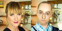 Девушка легко превращается в мужчину с помощью макияжа