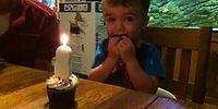 Dad Helps His Son Who Can't Blow Out The Candle!