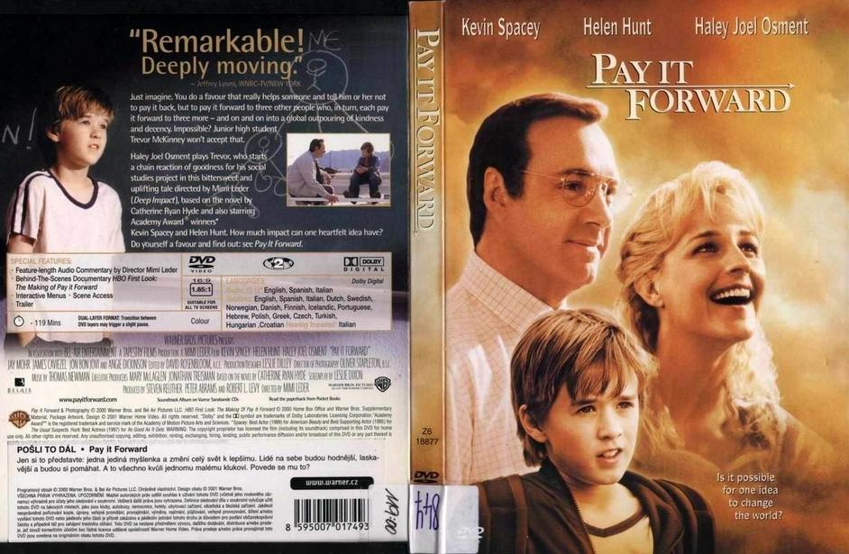 a report on the movie pay it forward Pay it forward movie reviews & metacritic score: eugene simonet (spacey) is a social studies teacher who teaches his class that it is possible for one person.