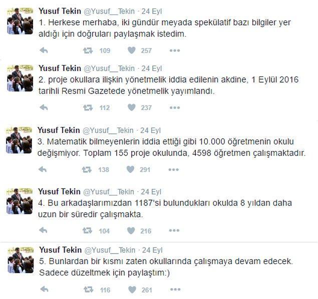 Milli Eğitim Bakanlığı Müsteşarı Yusuf Tekin 24 Eylül'de Twitter hesabından öğretmen değişiklikleri ile ilgili açıklama yapmıştı
