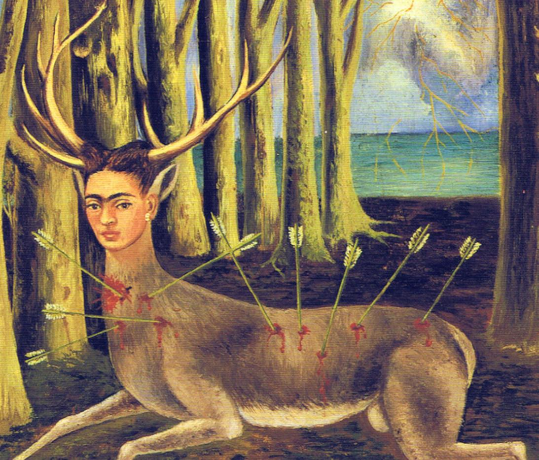"an analysis of frida kahlo and Frida kahlo's paintings are incredibly famous, but their meanings can remain enigmatic in this painting, frida drew herself naked from the waist up, wearing a steel brace to hold her body as the doctors told her to do in the lower left corner of the work, frida scrawled the word ""karma,"" meaning ""fate."