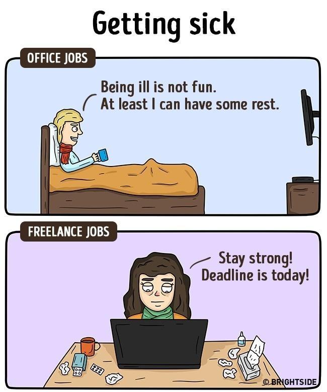 Office Jobs Vs. Freelancing: 13 Illustrations Nailing The