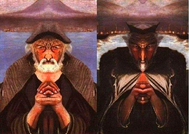 Ancak resmin tam ortasına bir ayna tuttuğunuzda ressamın tasvirine göre Tanrı veya şeytanı görebilirsiniz!...