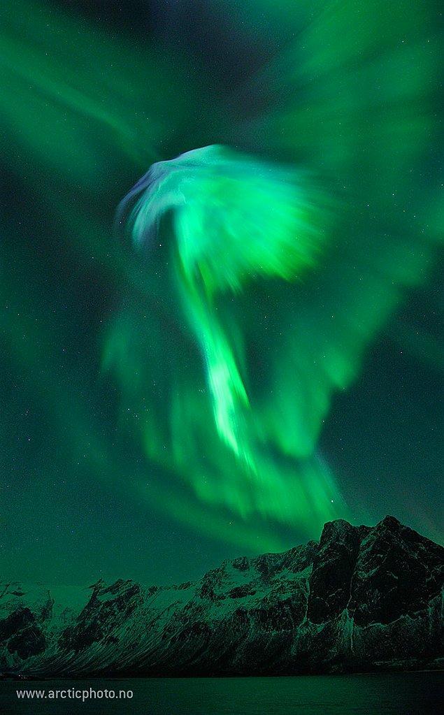 21. Norveç Üzerinde Kartal Biçimli Kutup Işığı