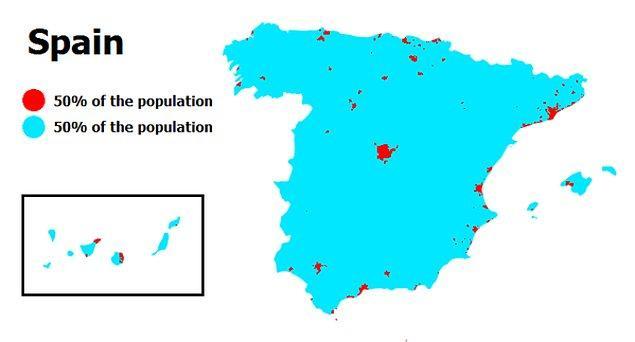8. İspanya'da da büyük yer israfı var. Nüfusun yarısının yaşadığı alan ancak o kırmızı noktalar