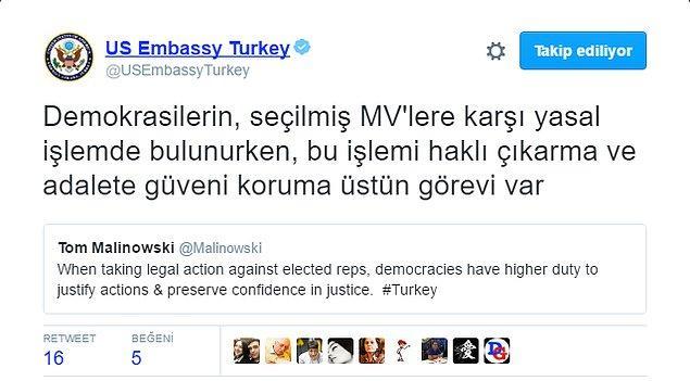 """""""Demokrasilerin, seçilmiş MV'lere karşı yasal işlemde bulunurken, bu işlemi haklı çıkarma ve adalete güveni koruma üstün görevi var"""""""